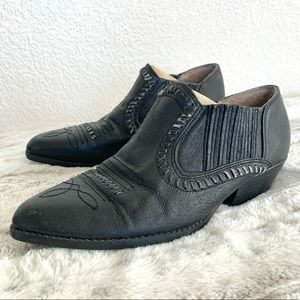 Vintage Leather Western Cowboy Ankle Boots